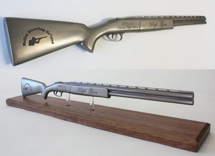 laser etched cold cast shotgun award