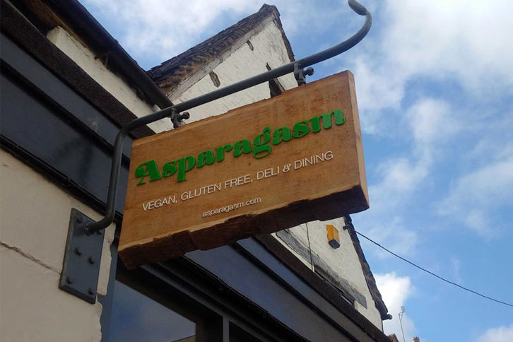 Oak and acrylic bespoke signage for Asaparagasm, Nailsworth.