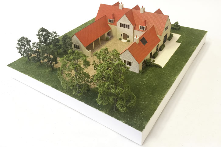 1:75 scale architectural model with Cotswold stone.