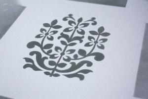 Spray pattern from laser cut mylar stencil