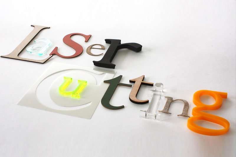 Laser cut letters for signage, stencils and decoration.