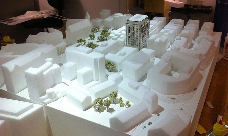 Foam massing model for planning.