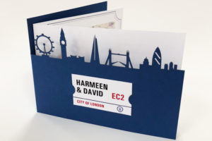 Laser cut wedding invitaion of the London skyline