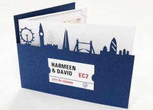 Laer cut wedding invitaion of the London skyline