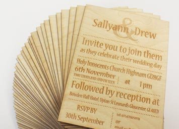 Laser engraved plywood weddin invitations