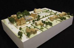 Timber architectural model of Overbury School.