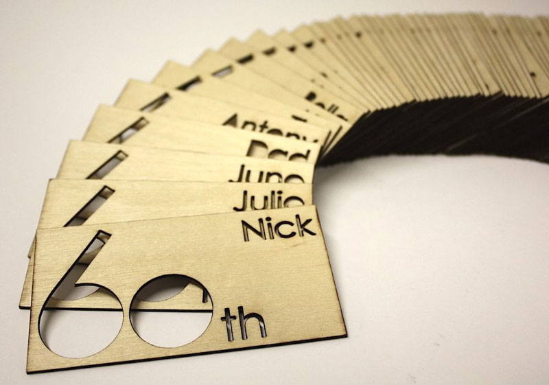 1.5mm plywood, laser cut wood place name tags.