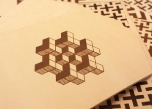 laser engraved leather geometric pattern