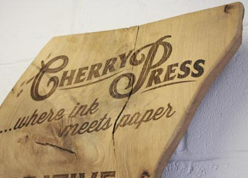 Laser engraved wood sign