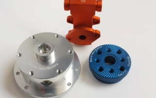 Laser engraved anodised aluminium RC motor parts
