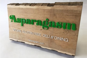 laser cut acrylic and solid oak sign