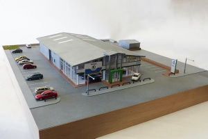 Simpsons Skoda dealership architectural model 1:72 scale