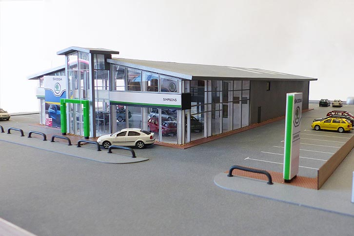 Simpsons Skoda dealership architectural model 1:72 scale
