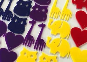 laser cut acrylic badges