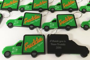 laser cut acrylic key rings for Freddie Fries Again crew corporate gifts