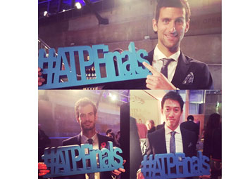 ATP world tour finals 3d logo with andy murray novak djokovic and kei nishikori