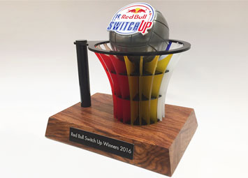 Red Bull Switch Up Netball Trophy timber acrylic laser cut cold cast metal