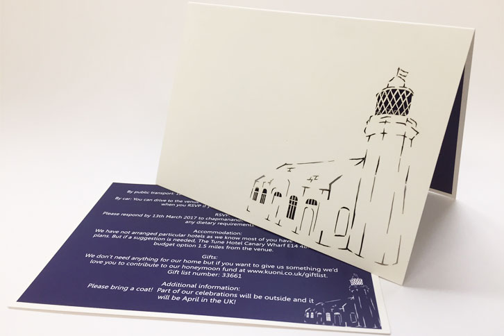 Laser cut card wedding invitations, bespoke and beautiful wedding ideas.