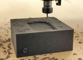CNC machining pocket in foam