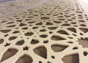 CNC milled routed plywood fretwork