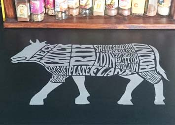 Pattern made from laser cut mylar beef stencil