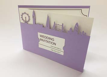 Laser cut card wedding invite london skyline