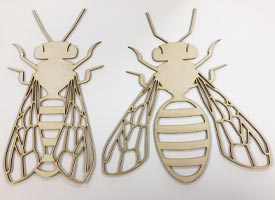 Intricate laser cutting of plywood bees from 3mm ply.