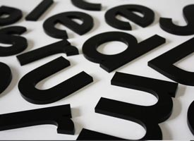 3mm black acrylic letters.