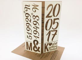 Bespoke laser cut wedding inviations, card sleave with printed recycled card insert.