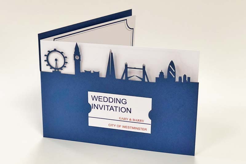 London skyline laser cut wedding invitation, bespoke design for new customers.