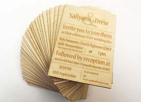 laser cut and engraved wodd wedding invitations