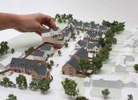 1:200 architectural models for planing permission application, with removeable updatable houses.
