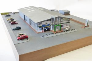 Industrial exhibition model of a Skoda showroom