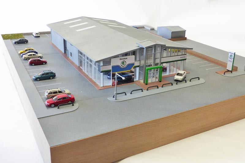 Exhibition models of a Skoda garage for was given as a gift but can also be used as an exhibition model.