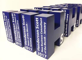 Large 3d letter awards with vinyl graphics.