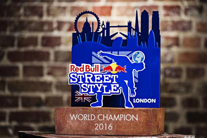 Redbull Street Style award made with laser cut acrylic and cast resin stone effect base.