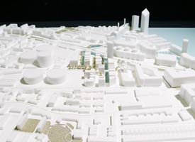 architectural models include this massing model from laser cut acrylic.
