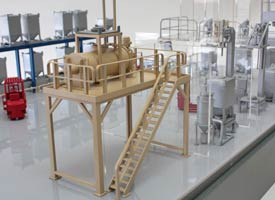 Factory floor exhibition models were made for Matcon, showing movement of product through the factory.