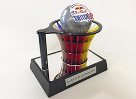 Redbull Swtich Up award made using laser cut acrylic and cold cast, metal look netball.