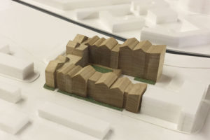 Simple massed architectural model made from acrylic and timber