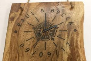 Solid oak, engraved wood clock.