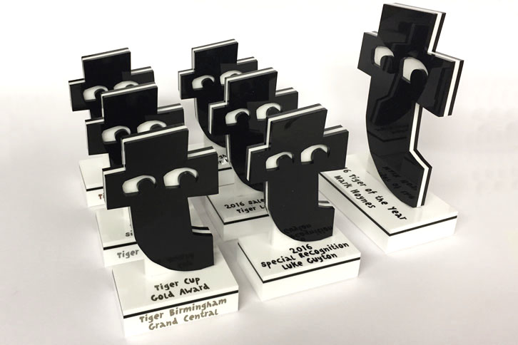 Bespoke acrylic awards for Tiger