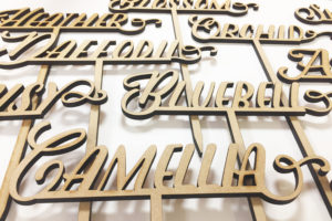 Laser cut wood table names