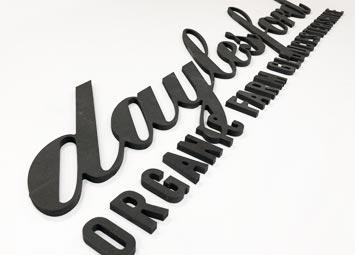 Large letters, CNC cut signage.
