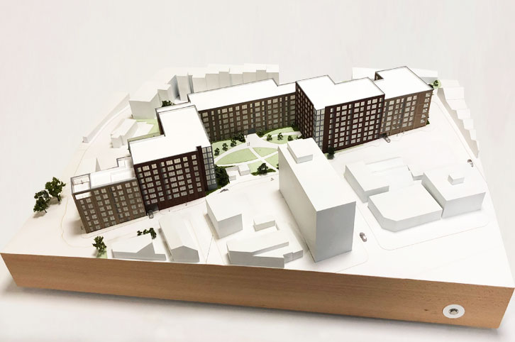 Architectural sales model for flats in central Birmingham