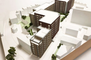 Architectural sales model of a block of flats. Made from acrylic and timber.