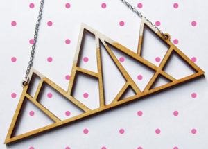Laser cut plywood necklace