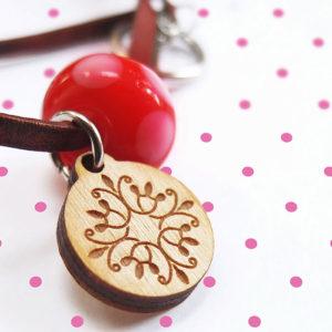 Laser engraved wood pendant