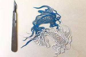 Laser cut card fish