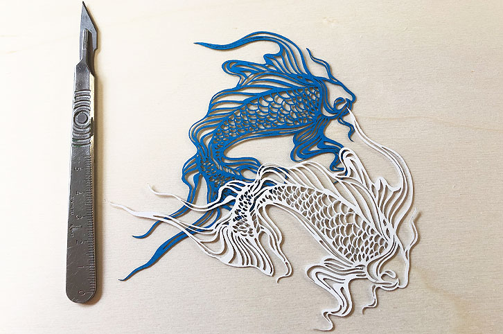 Laser cut card fish